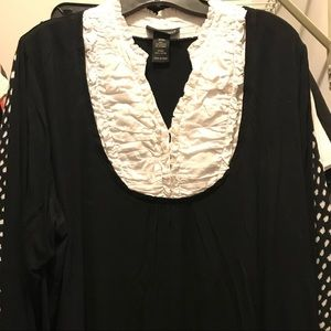 Lane Bryant black top with white ruffle color